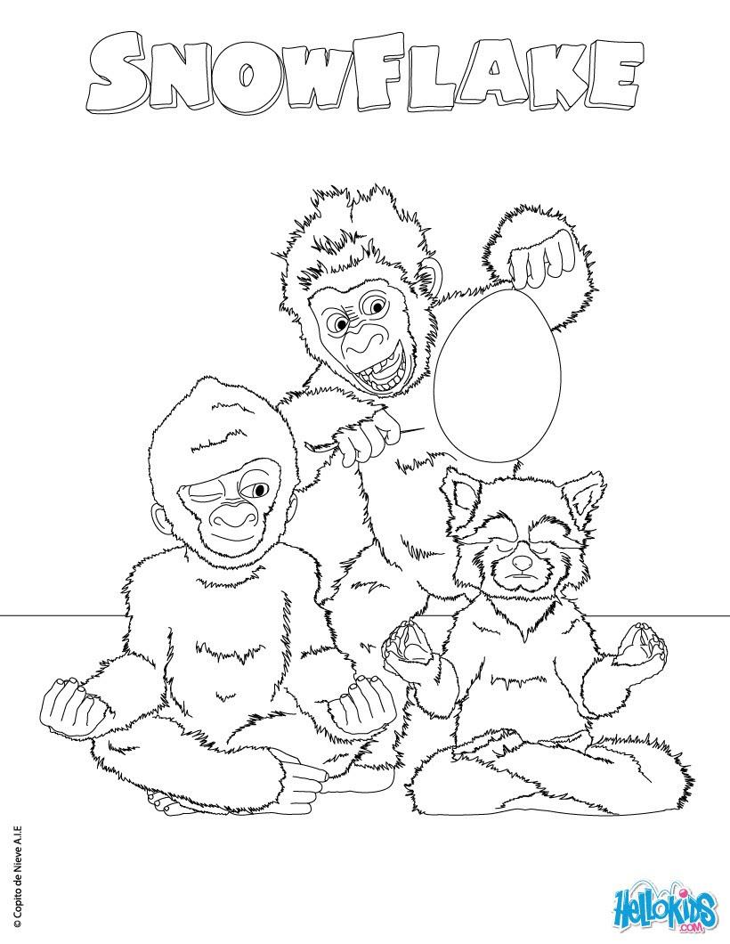SNOWFLAKE kostenlos anmalen Weisser Gorilla zum Ausmalen