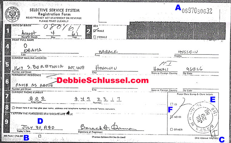 Pictured: Barack Obamas 2008 Selective Service Card. Blogger Debbie Schlussel has discovered solid evidence that Obamas Selective Service registration form was submitted not when he was younger as required, but rather in 2008 and then altered to look older.