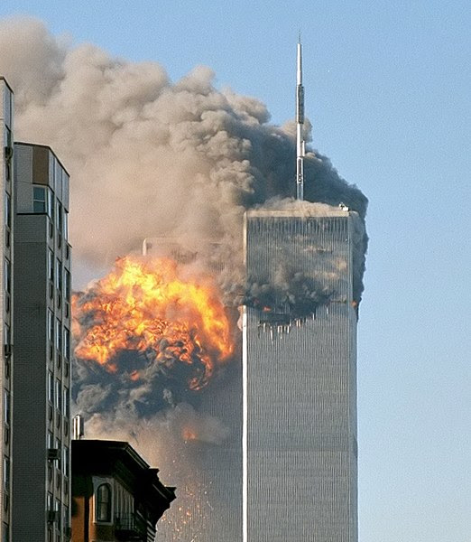 File:North face south tower after plane strike 9-11.jpg