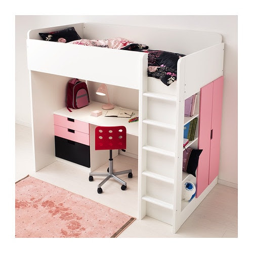 STUVA Loft bed with 4 drawers/2 doors IKEA You can assemble the desk parallel, perpendicular, or complete with 2 ADILS legs for a free-standing desk.