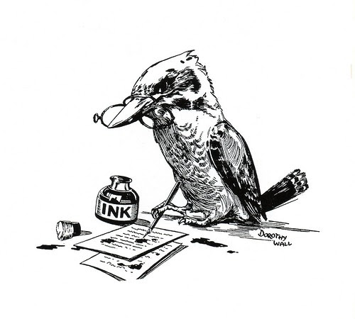 Kookaburra with spectacles (vignette) by Dorothy Wall
