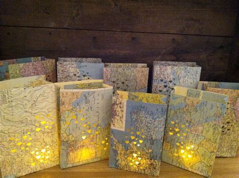 20 Small Map Luminaries Wedding Decor Travel Theme by