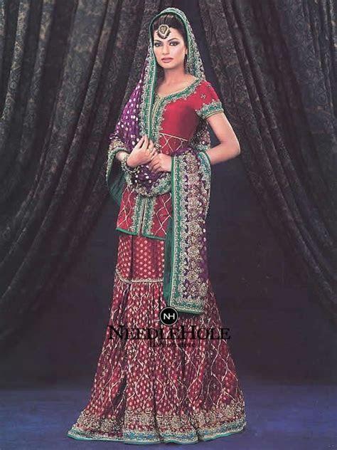 Alluring Dark Red Lucknow Wedding Gharara Dress For Women