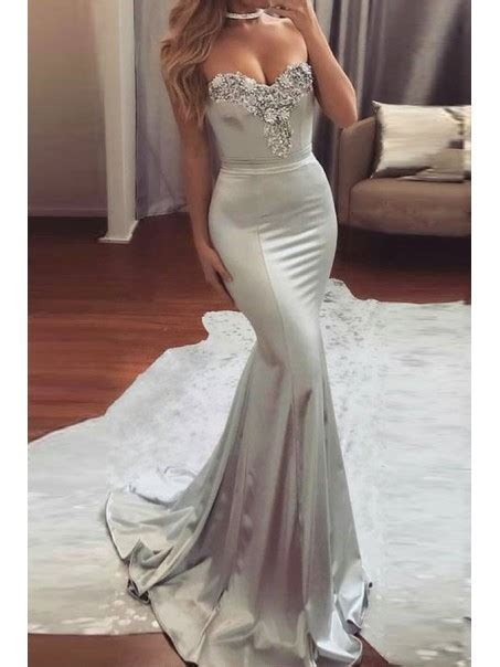 Elegant Long Silver Beaded Mermaid Prom Evening Formal