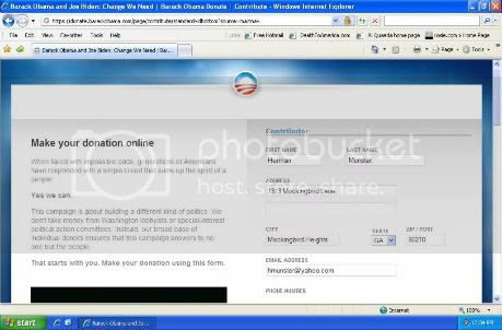Obama donation screen capture