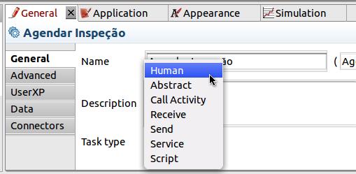 Na janela de propriedades, aba General, clique em Task type e selecione Human.