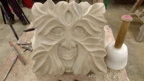 Green Man stone carving weekend in Yorkshire   Creative