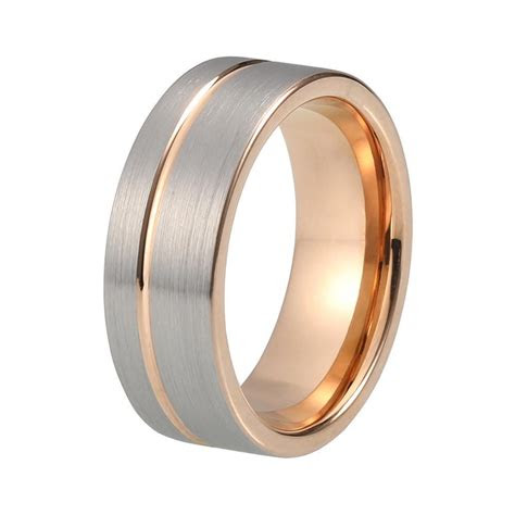 brushed gunmetal mens wedding band rose gold shop jul
