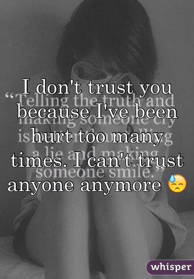I Dont Trust You Because Ive Been Hurt Too Many Times I Cant