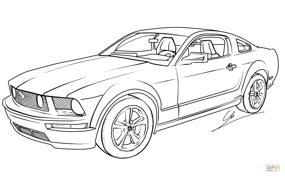 er sur la Ford Mustang GT coloriages