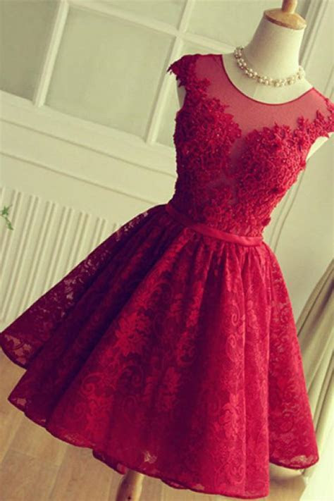 Red Short Lace Homecoming Dresses,Knee length Prom Dresses