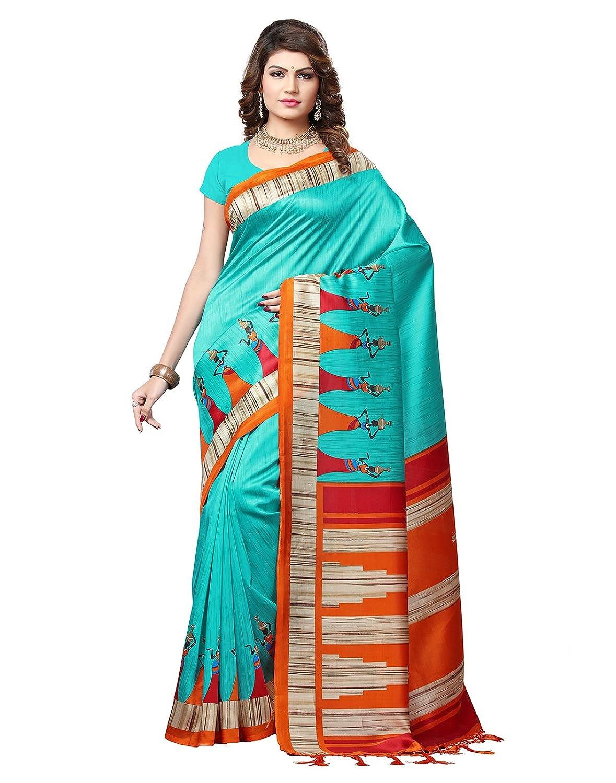 e-VASTRAM Womens Mysore Art Silk Printed Saree With Tassel/Kutch