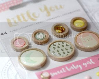 Wood button Little You by Crate Paper