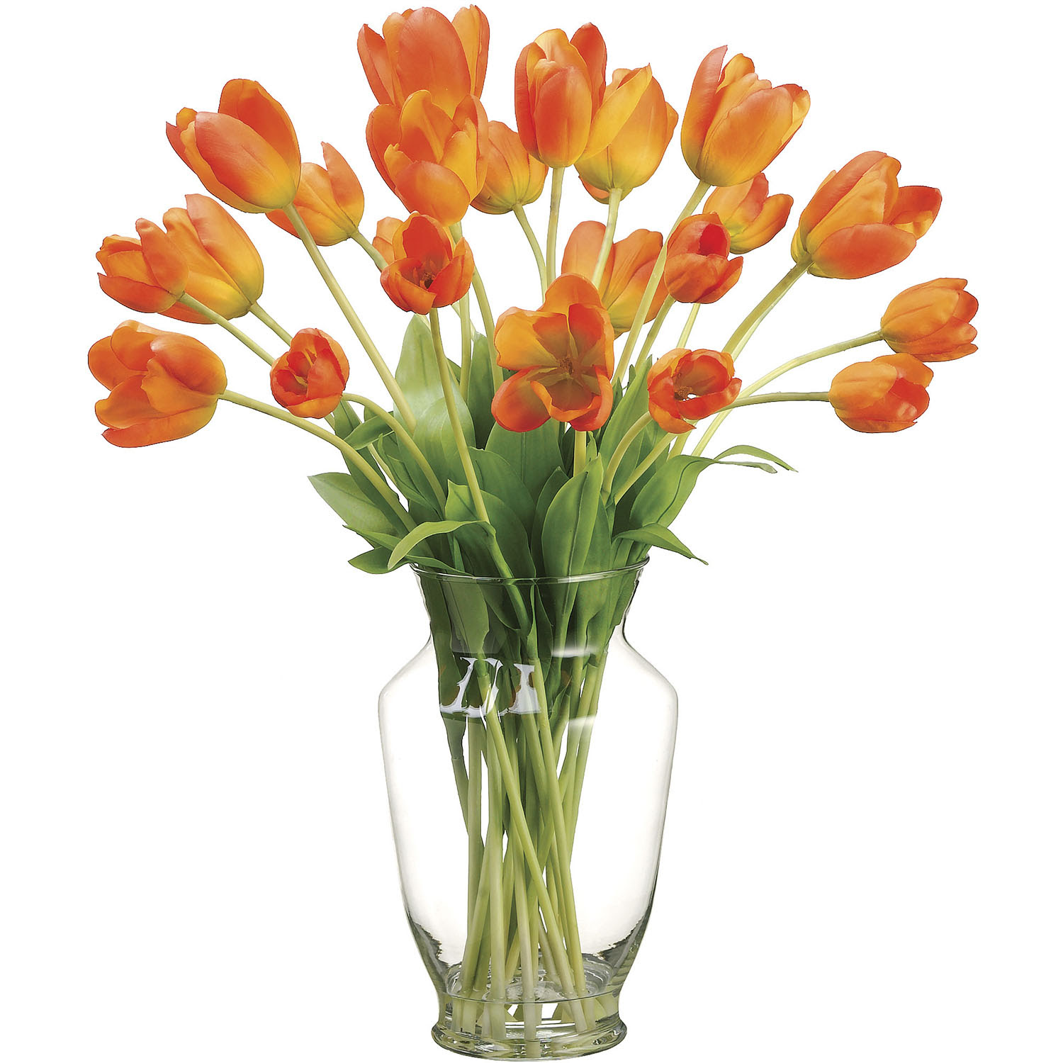 22 inch Artificial Tulip Arrangement in Glass Vase  WF1497OR