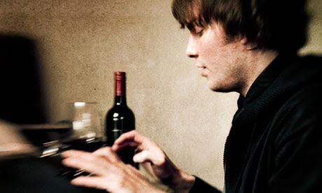 man writing typewriter