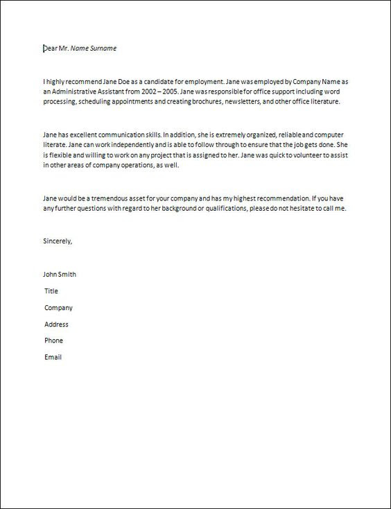 Recommendation Letter Resume Gl Accountant Pinterest