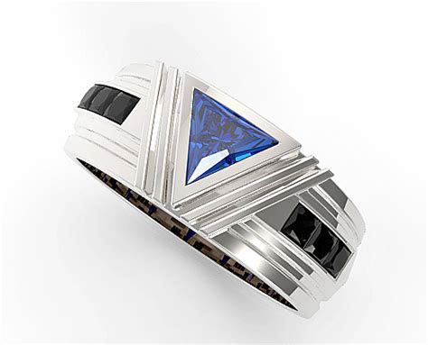 unique triangle cut blue sapphire wedding ring  mens