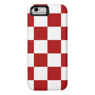 Classic Checkered Red and White Pattern iPhone 6 Case
