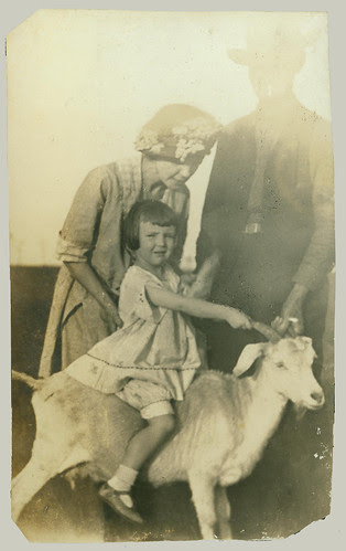Child and goat
