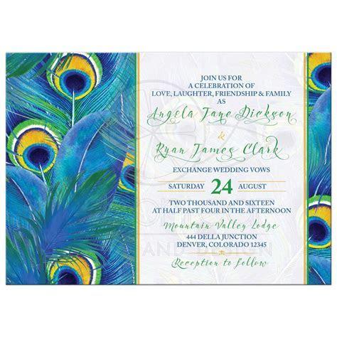 Peacock Feather Wedding Invitation   Watercolor   Blue