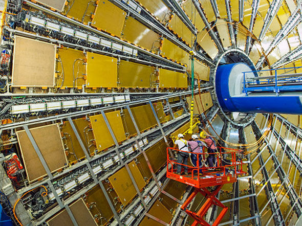 The Large Hadron Collider being repaired.