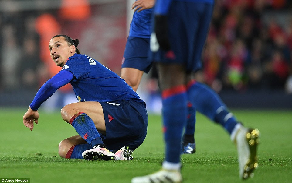 Zlatan Ibrahimovic was deployed on his own up front for United, here the Swede looks up after being dumped on the turf
