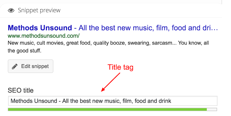 title tag on page