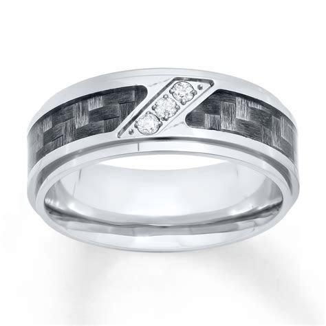 Men's Wedding Band 1/10 ct tw Diamonds Stainless Steel