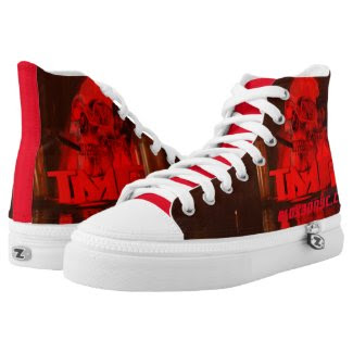 A Hustlers Kicks for TMF Flaming skull Red Printed Shoes