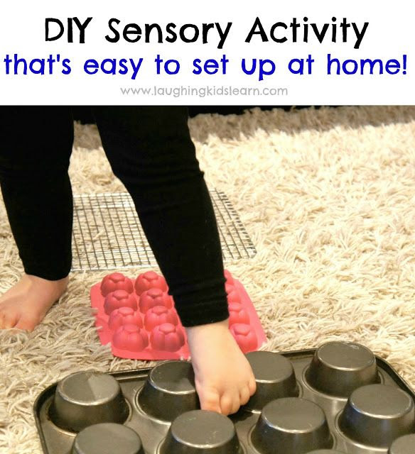 DIY Sensory Activity with easy home set up. Perfect way to make children sensory aware and become better at balancing. Laughing Kids Learn
