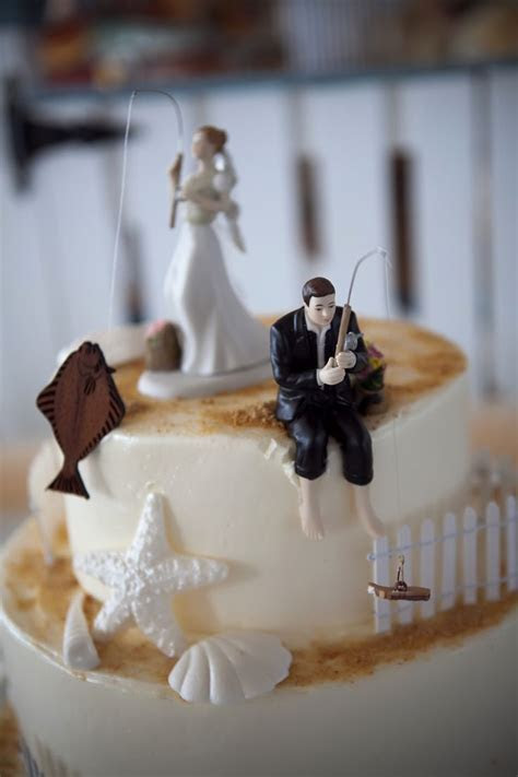 Fishing Cake toppers from our wedding  bride with halibut