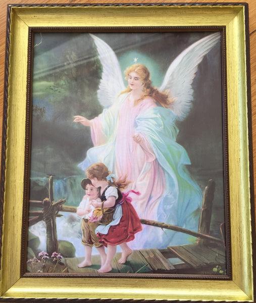 Guardian Angel Crossing A Bridge Framed Print Little Flower Gifts