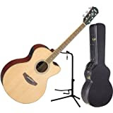 Yamaha CPX500II Natural Full Body Acoustic Electric Guitar w/ Hardshell Case and Stand