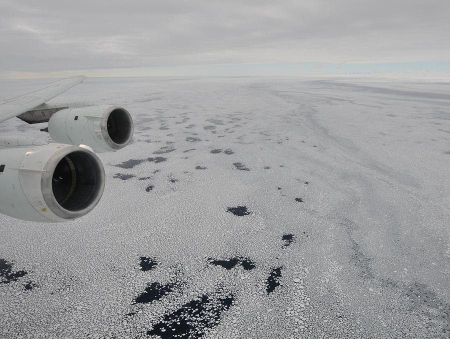 Sea ice is seen out the window of NASA's DC-8 research aircraft on Oct. 21, 2009