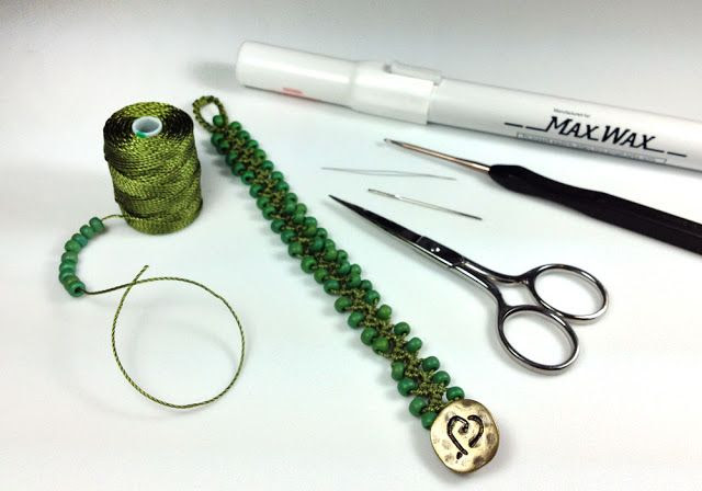 Turkish Flat Bead Crochet Bracelet Tutorial with C-Lon Tex 400 Bead Cord