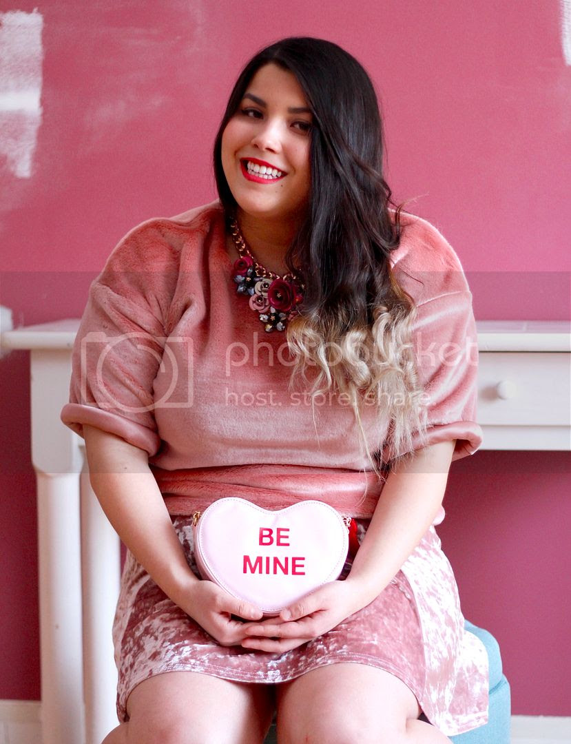 plus size fashion, valentines day plus size, pink fur top, velvet skirt, toronto canada plus size fashion