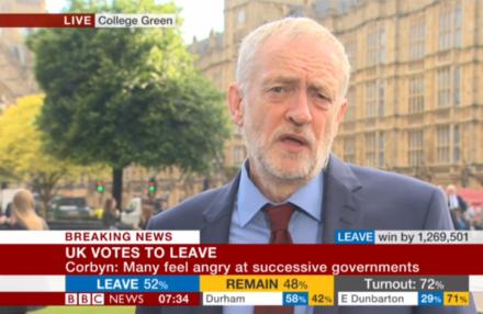 Corbyn Referendum result on BBC