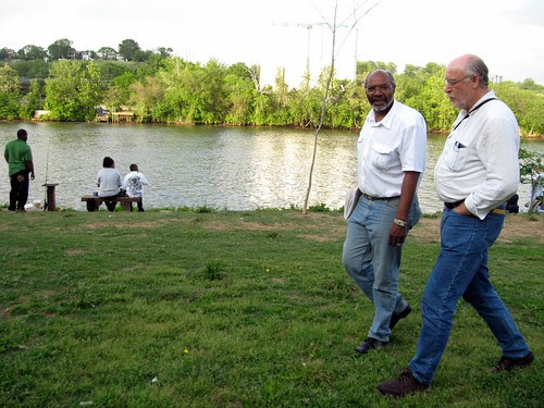 Abayomi Azikiwe, editor of the Pan-African News Wire, and Phil Wilayto, editor of the Virginia Defender, at the Manchester Docks on the James River in Richmond. They were walking toward the slave trail leading to Shockoe Bottom. (Photo: Ana Edwards) by Pan-African News Wire File Photos