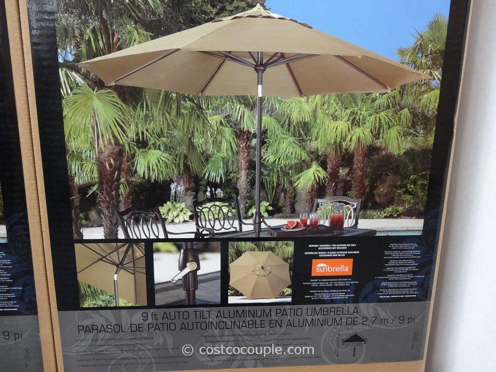 9 Ft Auto Tilt Aluminum Patio Umbrella
