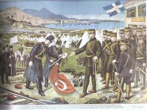 Ο στρατάρχης Ταχσίν Πασάς παραδίδει το πρωτόκολλο παράδοσης της πόλης στον Κωνσταντίνο