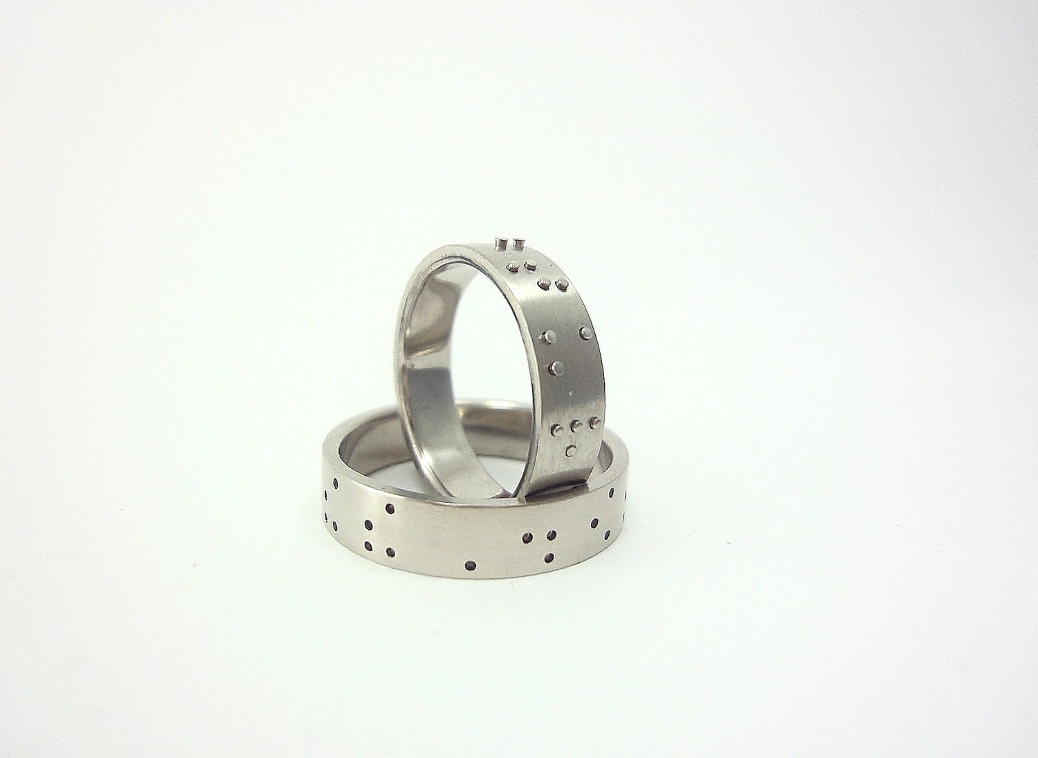 "Ring pair ""Love is blind"" -Braille wedding bands, MADE TO ORDER"