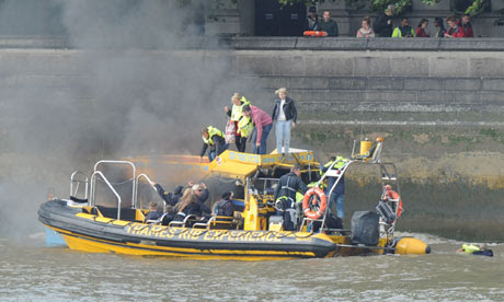 Duck Tour Boat Catches Fire On River Thames In London