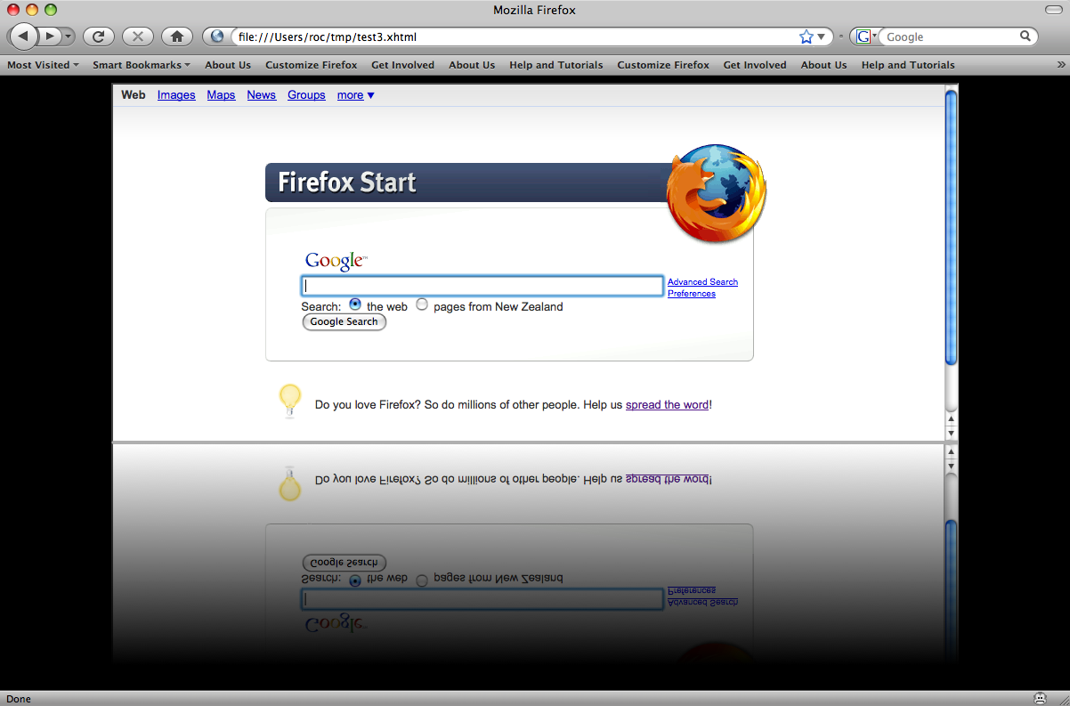 Firefox start page with reflection