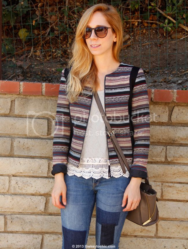 L.A. fashion blogger The Key To Chic wearing H&M jacquard jacket, patchwork jeans, and Phillip Lim for Target taupe mini satchel
