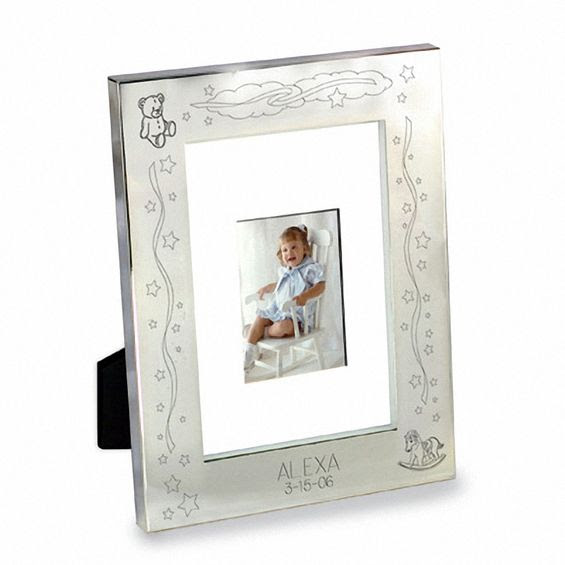 Silver Plated Engraved Baby 3 12 X 5 Picture Frame 2 Lines