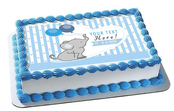 It S A Boy Elephant Baby Shower Edible Cake Topper Cupcake Toppers Edible Prints On Cake Epoc
