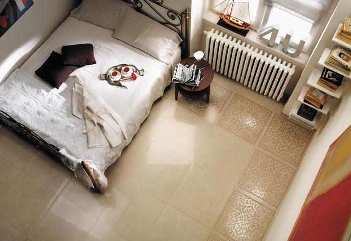 Cream white bedroom floor tile border | Interior Design Ideas.