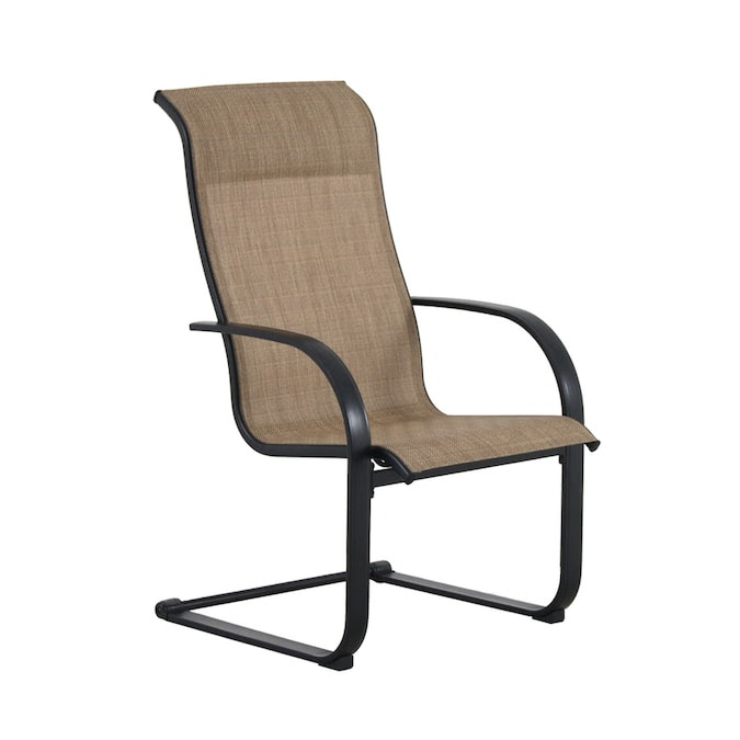 Garden Treasures Pelham Bay Set Of 6 Black Metal Spring Motion Dining Chair S With Tan Sling Seat In The Patio Chairs Department At Lowes Com