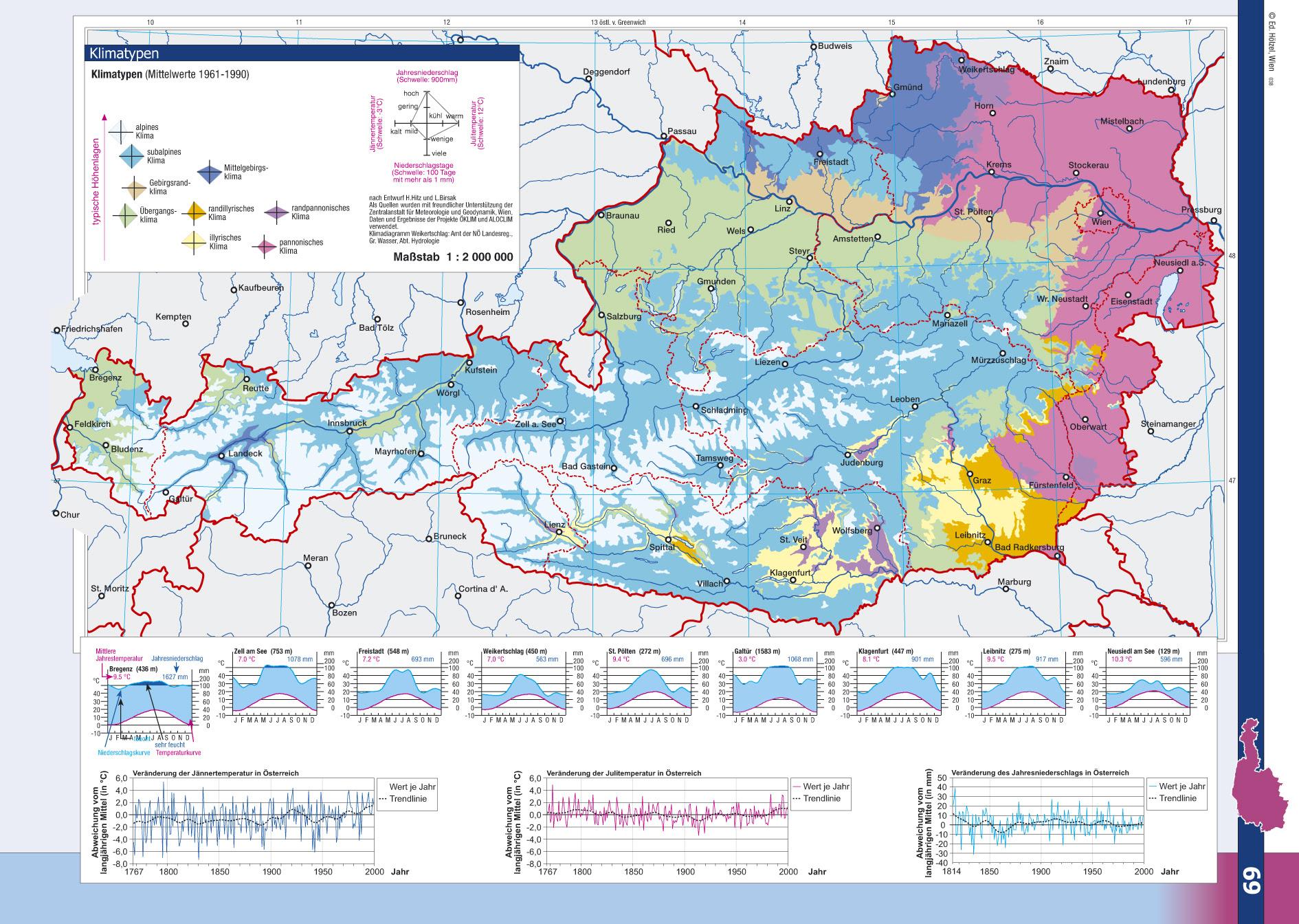 Mapa del clima de Austria
