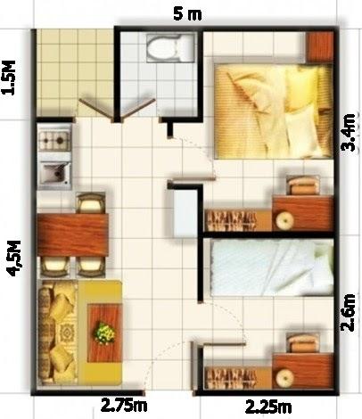 ukuran 6x8m denah rumah minimalis ukuran 6x8 3 kamar